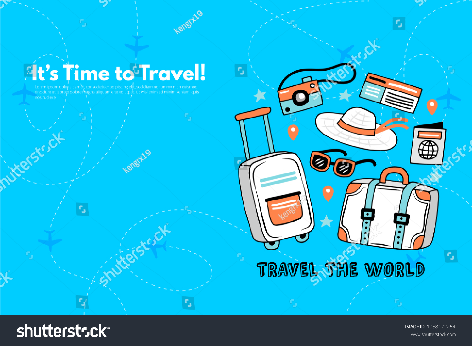 Trip Travel Time Travel Trip World Travel World Vacation Stock Vector Royalty