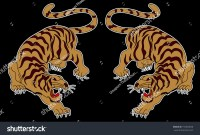 Japanese Tiger Sticker Tattoo Designcartoon Tiger Stock