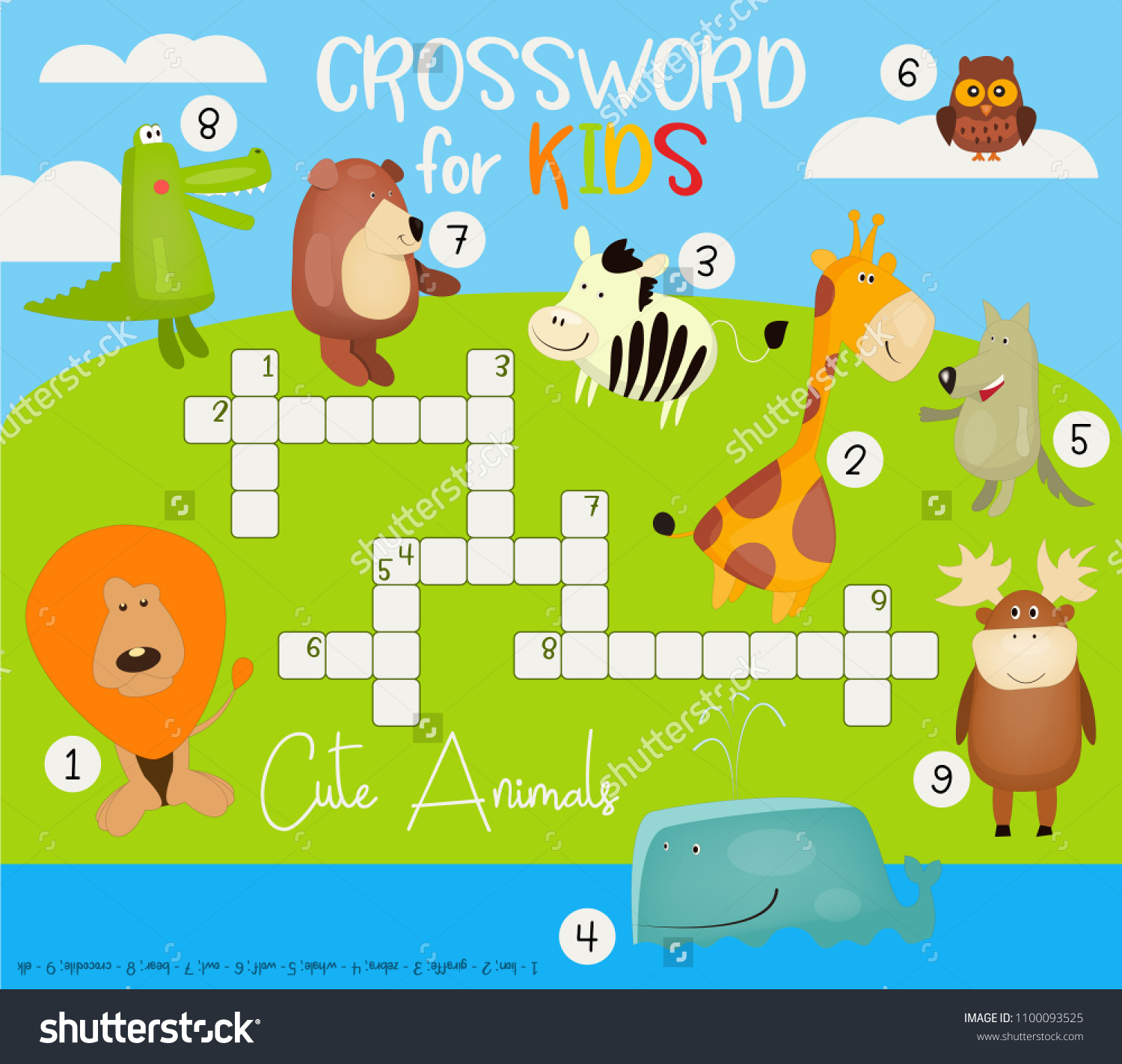Placard Crossword Kids Colorful Crossword English Magazine Book Stock Vector