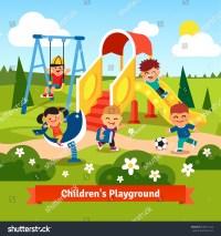 Kids Playing On Playground Swinging Sliding Stock Vector ...