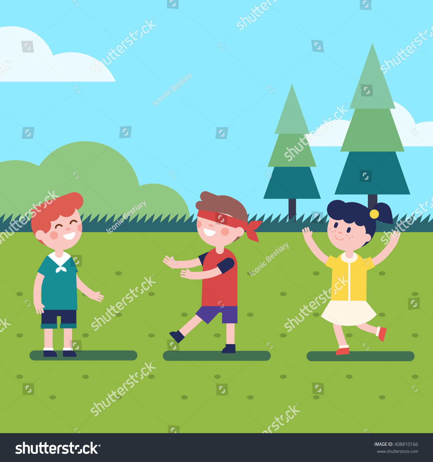 Hide And Seek Kids Kids Playing Outdoor Blindfold Game Hide Stock Vector Royalty