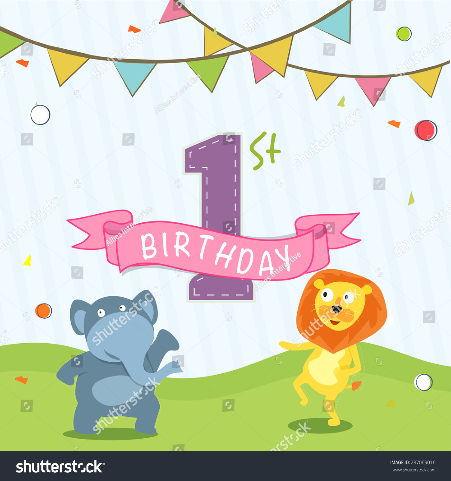 Kids 1st birthday celebration invitation card design with party flag and cartoon of animals