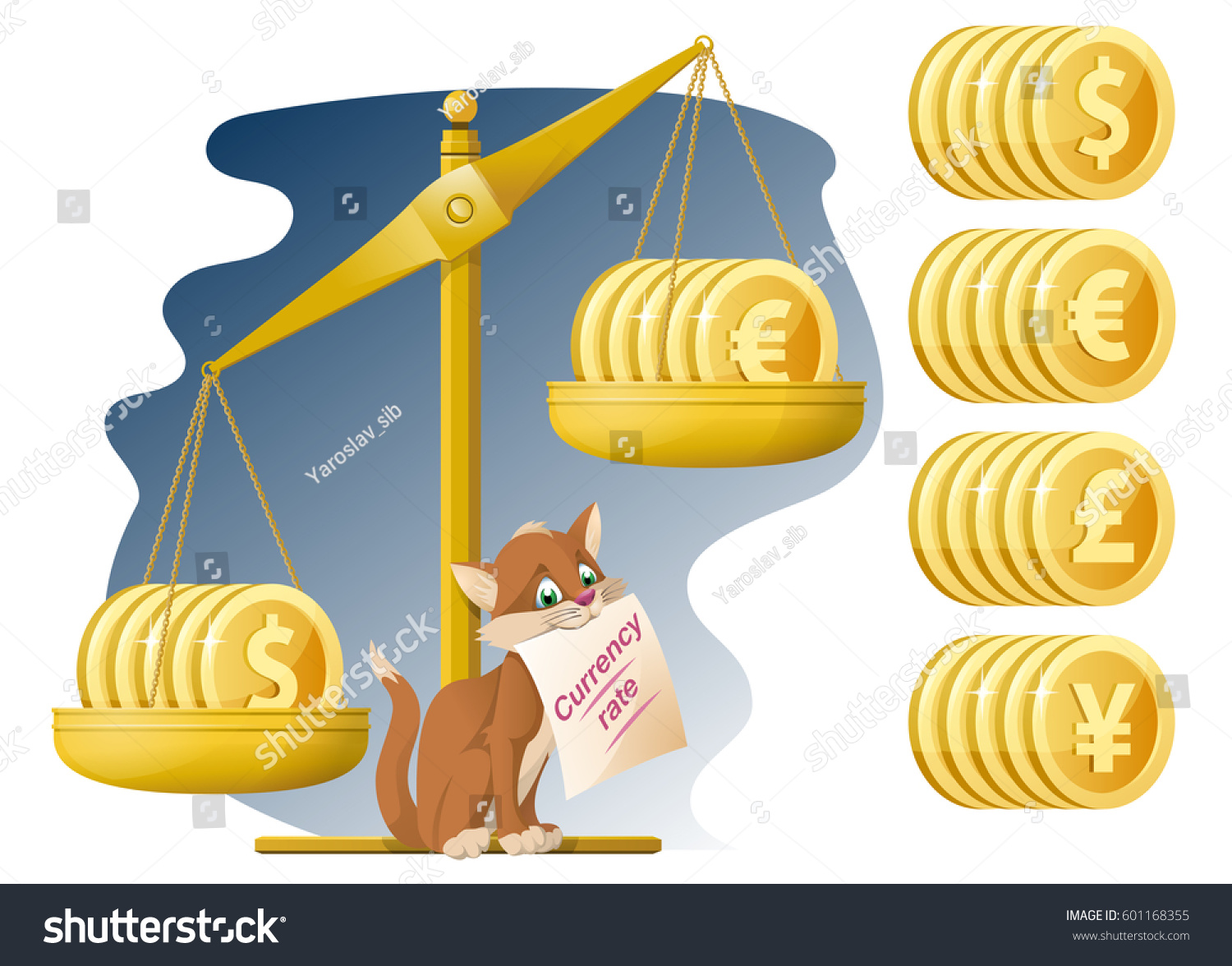 Libra A Euro Libra Funny Cat Currency Rate Dollar Stock Vector Royalty Free