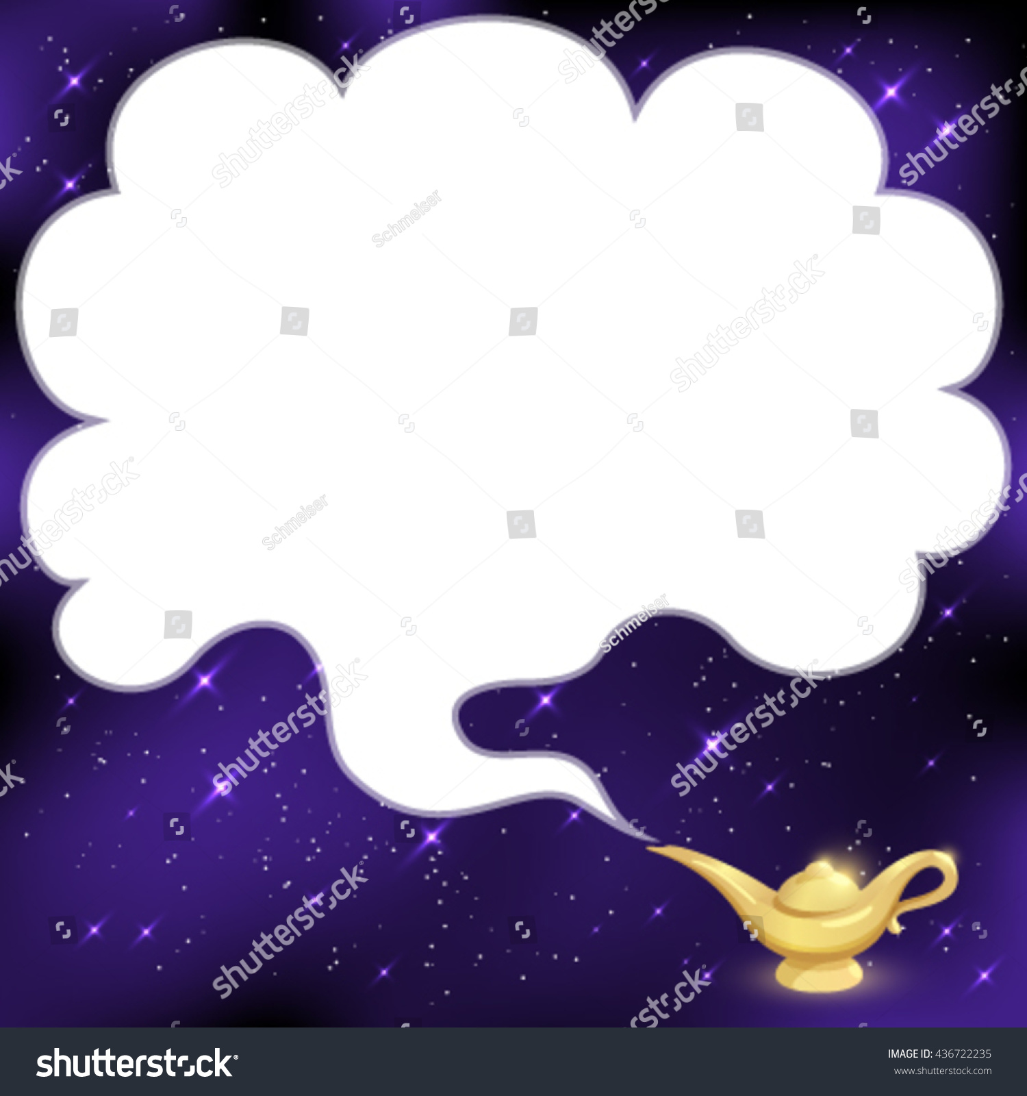 Aladdin Lamp Smoke Magical Genie Lamp Smoke Space Text Stock Vector 436722235
