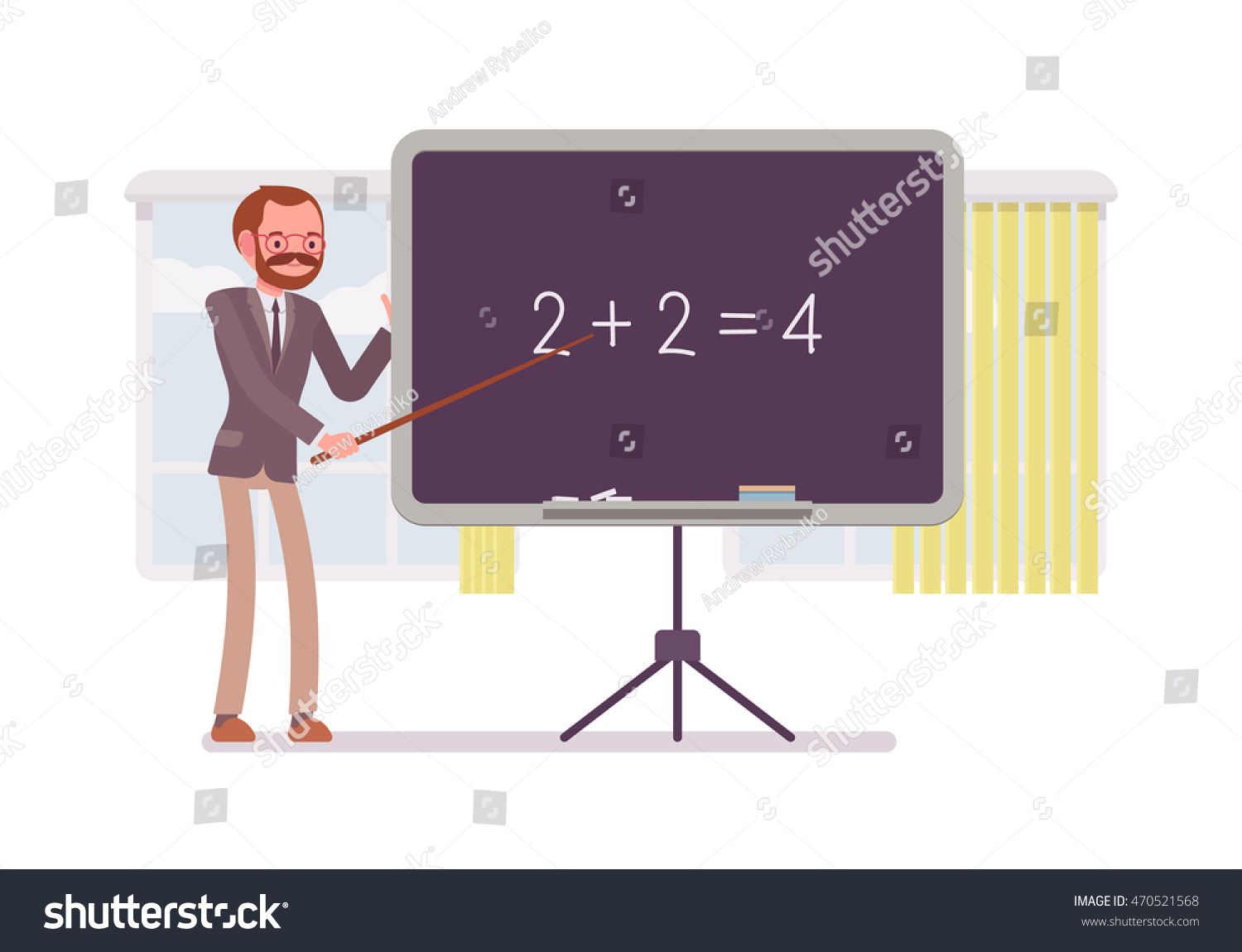 Teaching Maths Male Mathematic Teacher Teaching Maths On Stock Vector Royalty