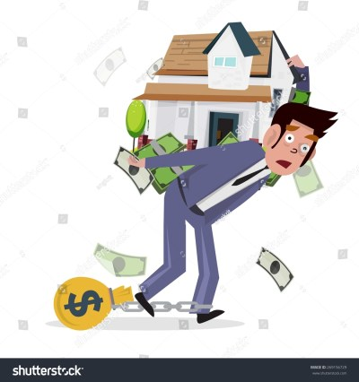 Man Carrying Home With Money. Loan From House. Concept Of Mortgage Loan - Vector Illustration ...