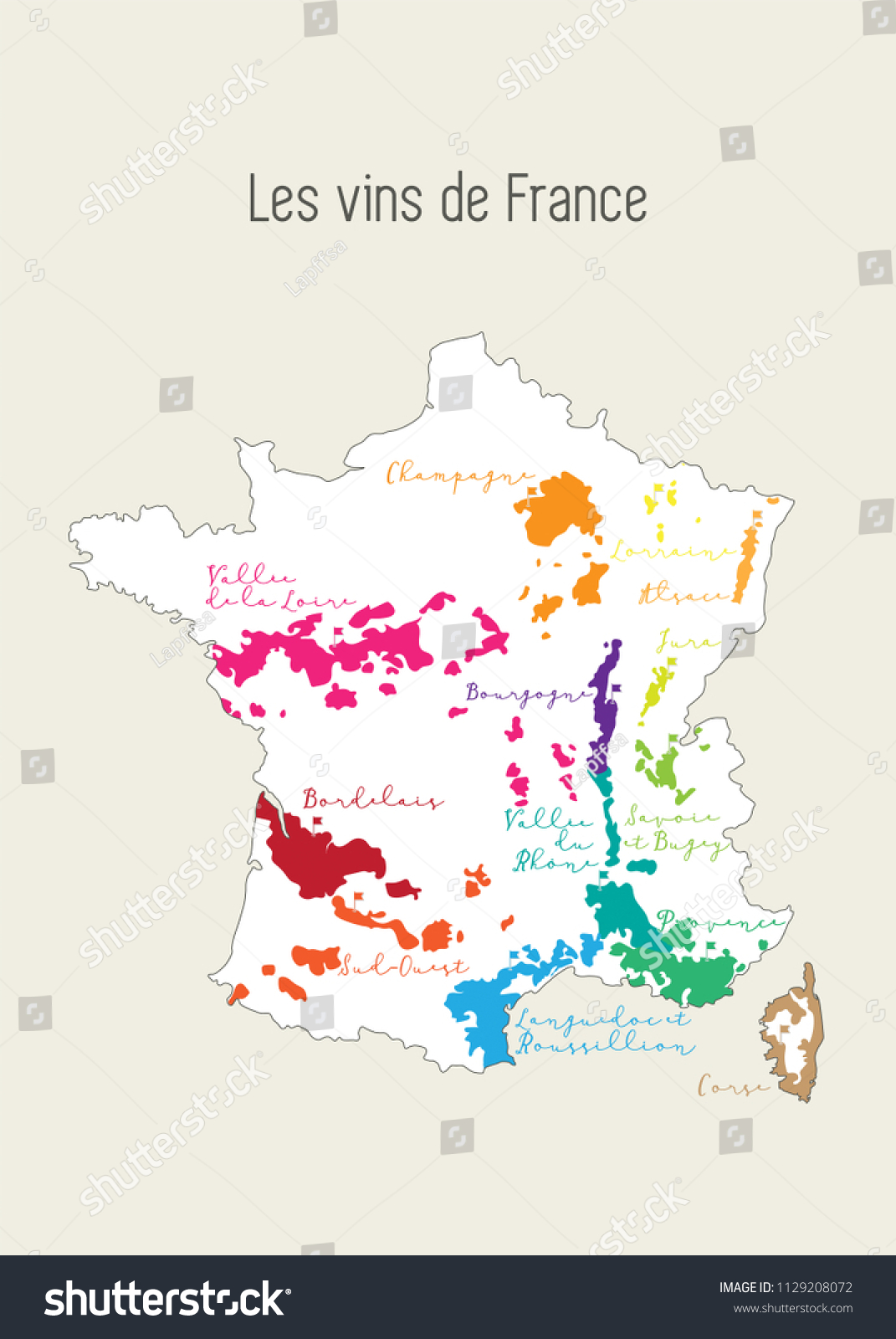 Regions De France Map French Wine Regions French Language Stock Vector Royalty Free