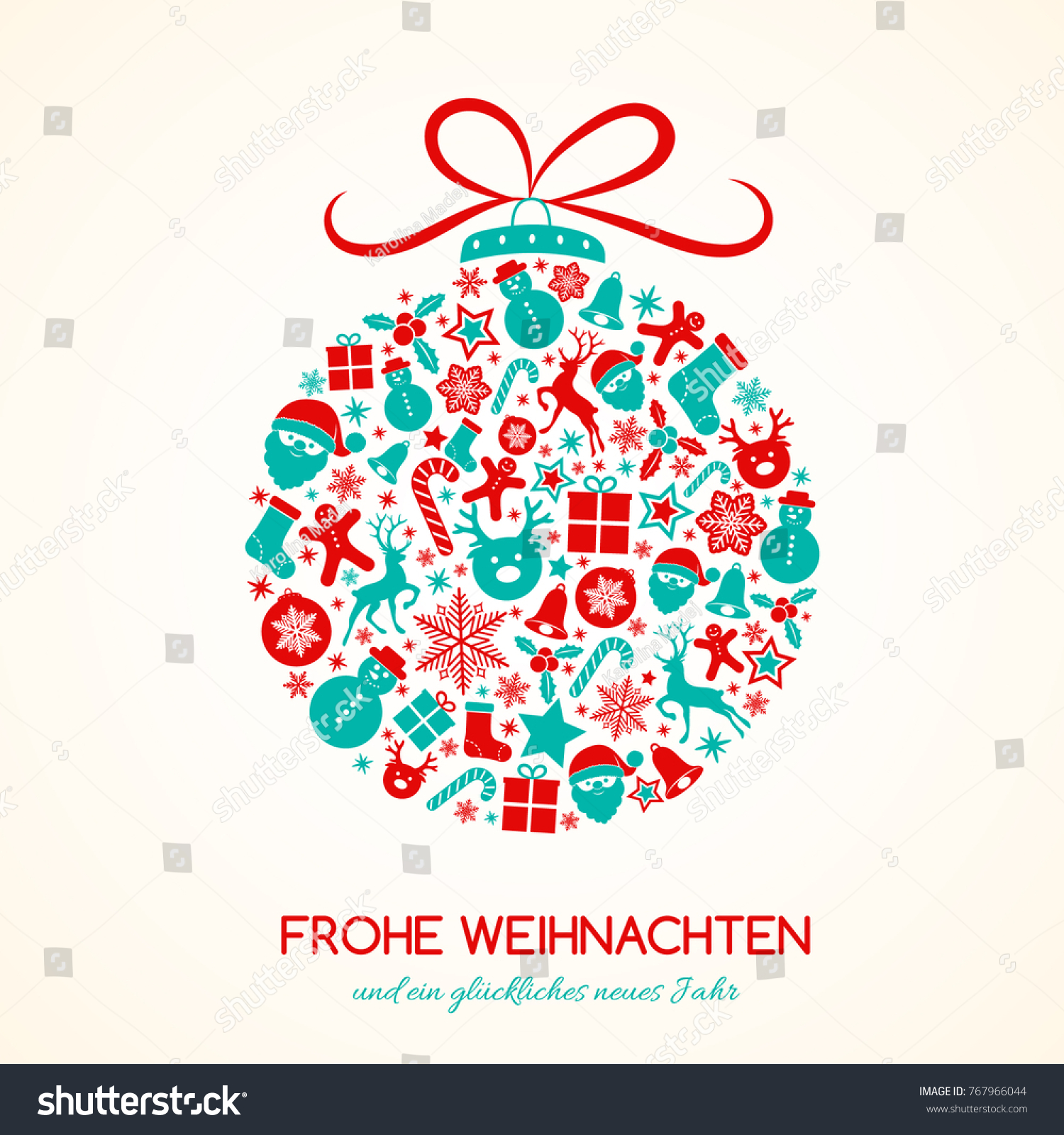 Design Weihnachten Merry Christmas German Frohe Weihnachten Concept Stock Vector