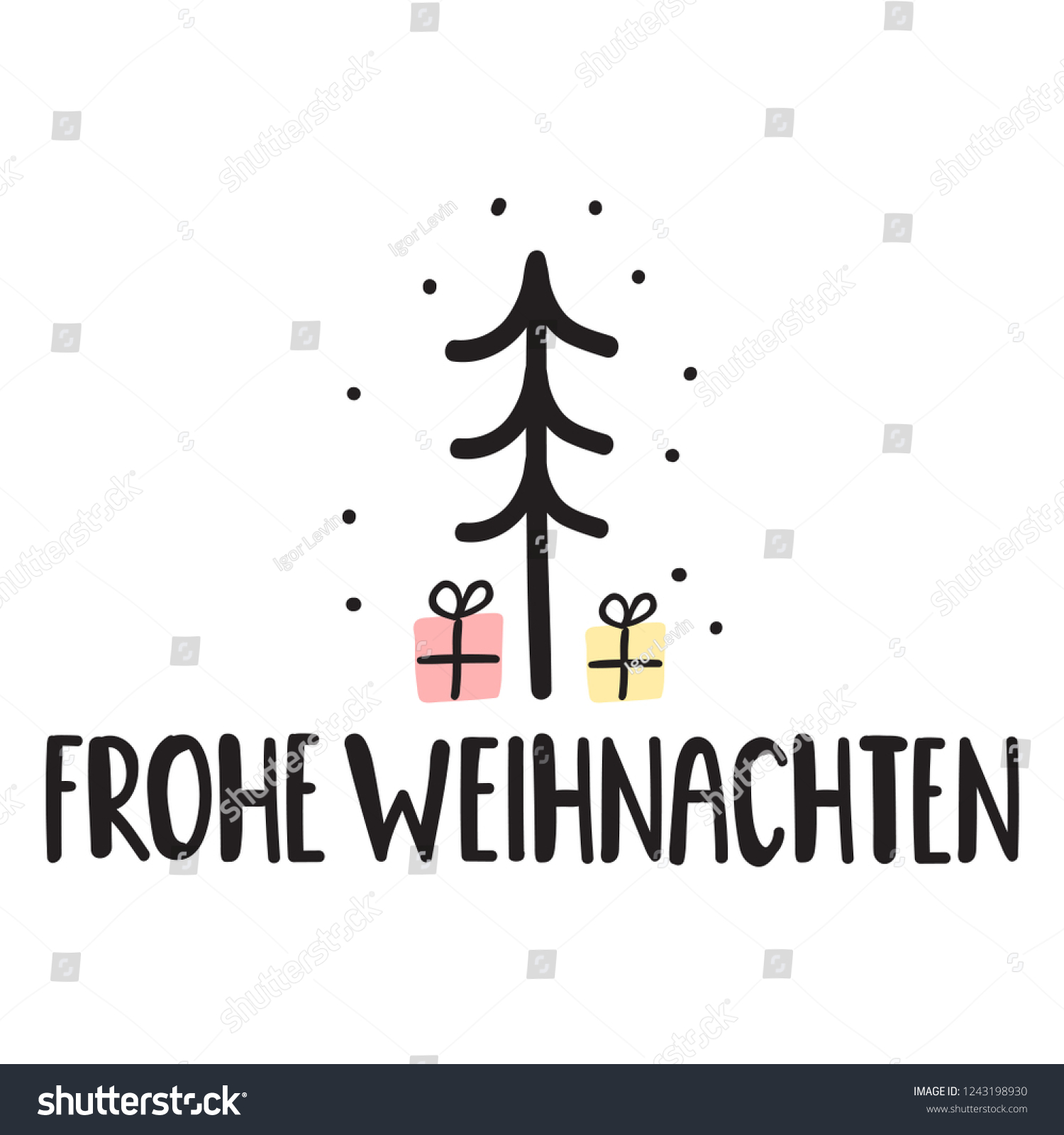Design Weihnachten Merry Christmas German Frohe Weihnachten Vector Stock Vector