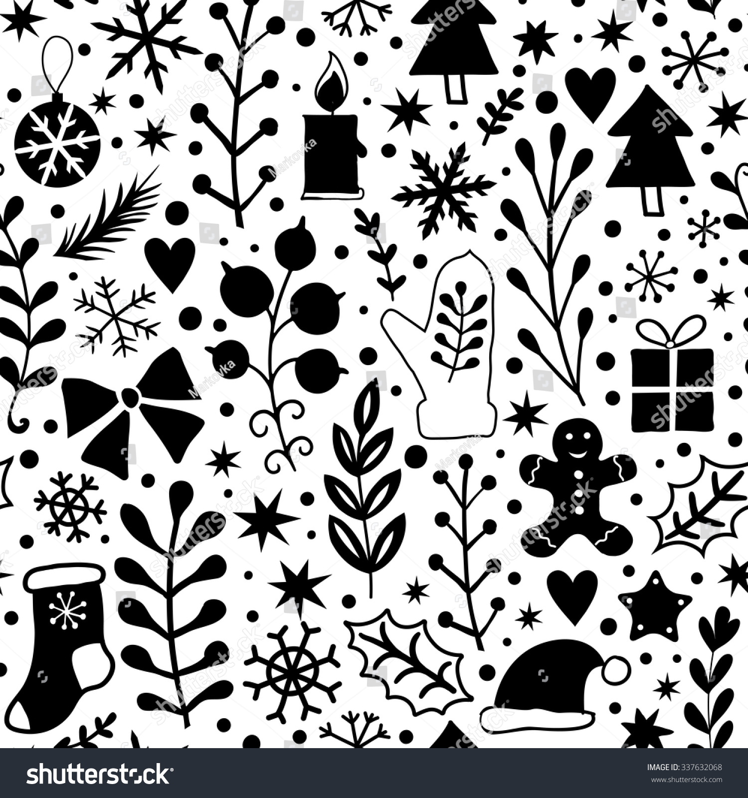 Black And White Wrapping Paper Merry Christmas Seamless Pattern Black White Stock Vector