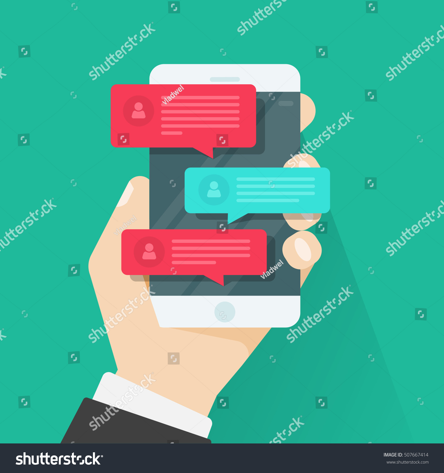 Gratis Juridisch Advies Chat Mobile Phone Chat Message Notifications Vector Stockvector