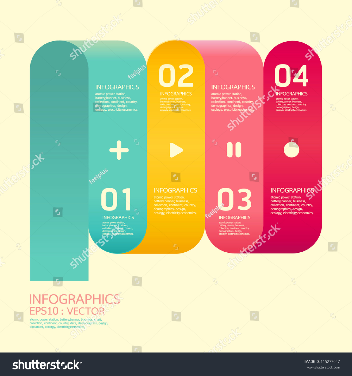 Modern curve soft color design template can be used for infographics numbered banners