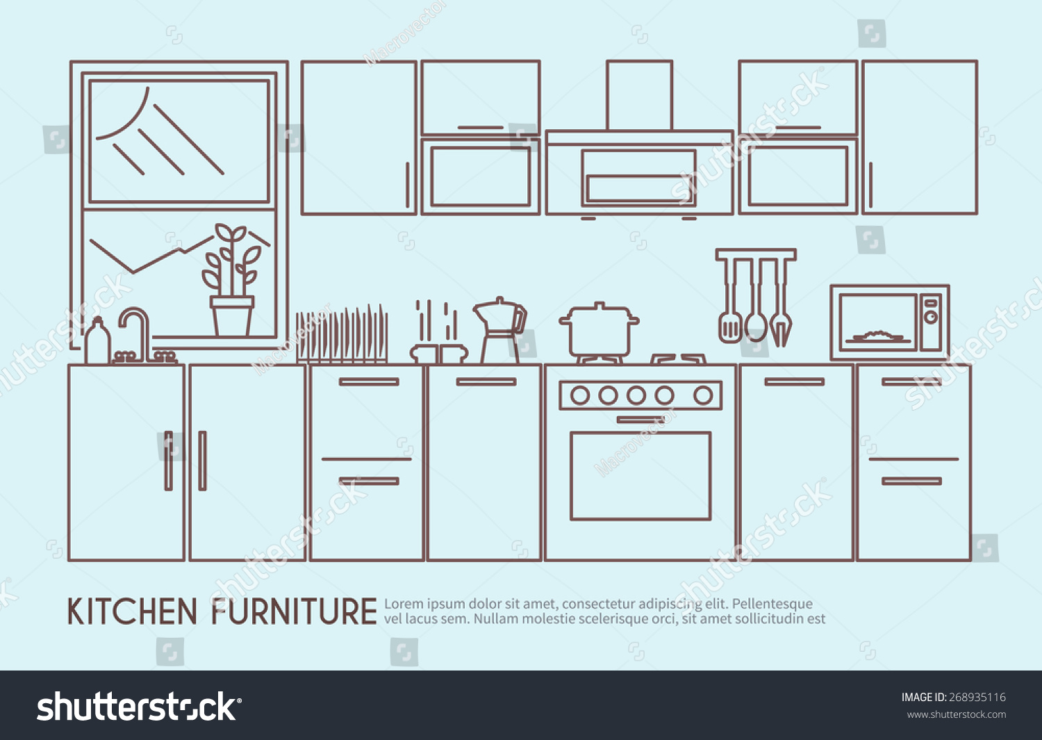 Modern Kitchen Design Plans Modern Kitchen Furniture Interior Design Utensils Stock Vector