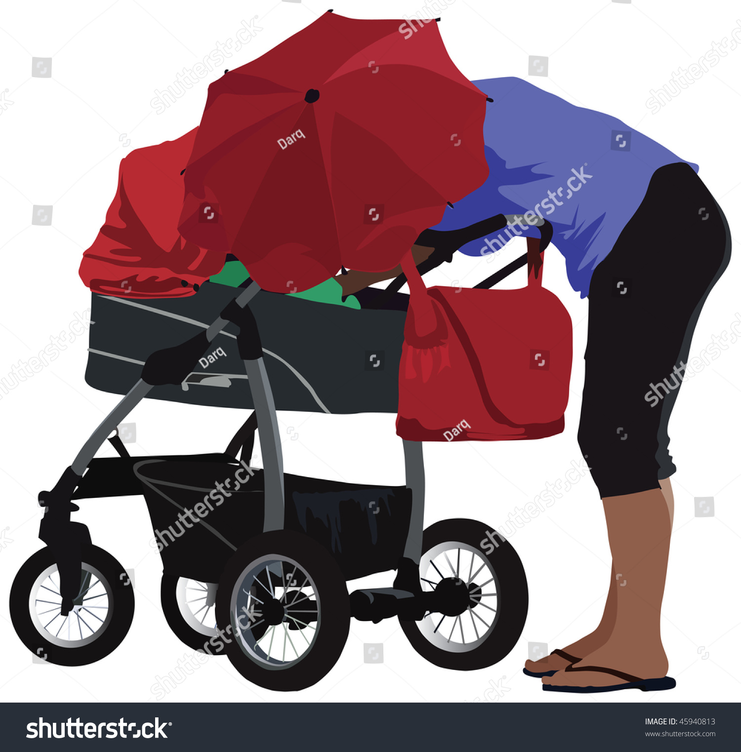 Baby Pram Umbrella Modern Pram Umbrella Mother Taking Care Royalty Free Stock
