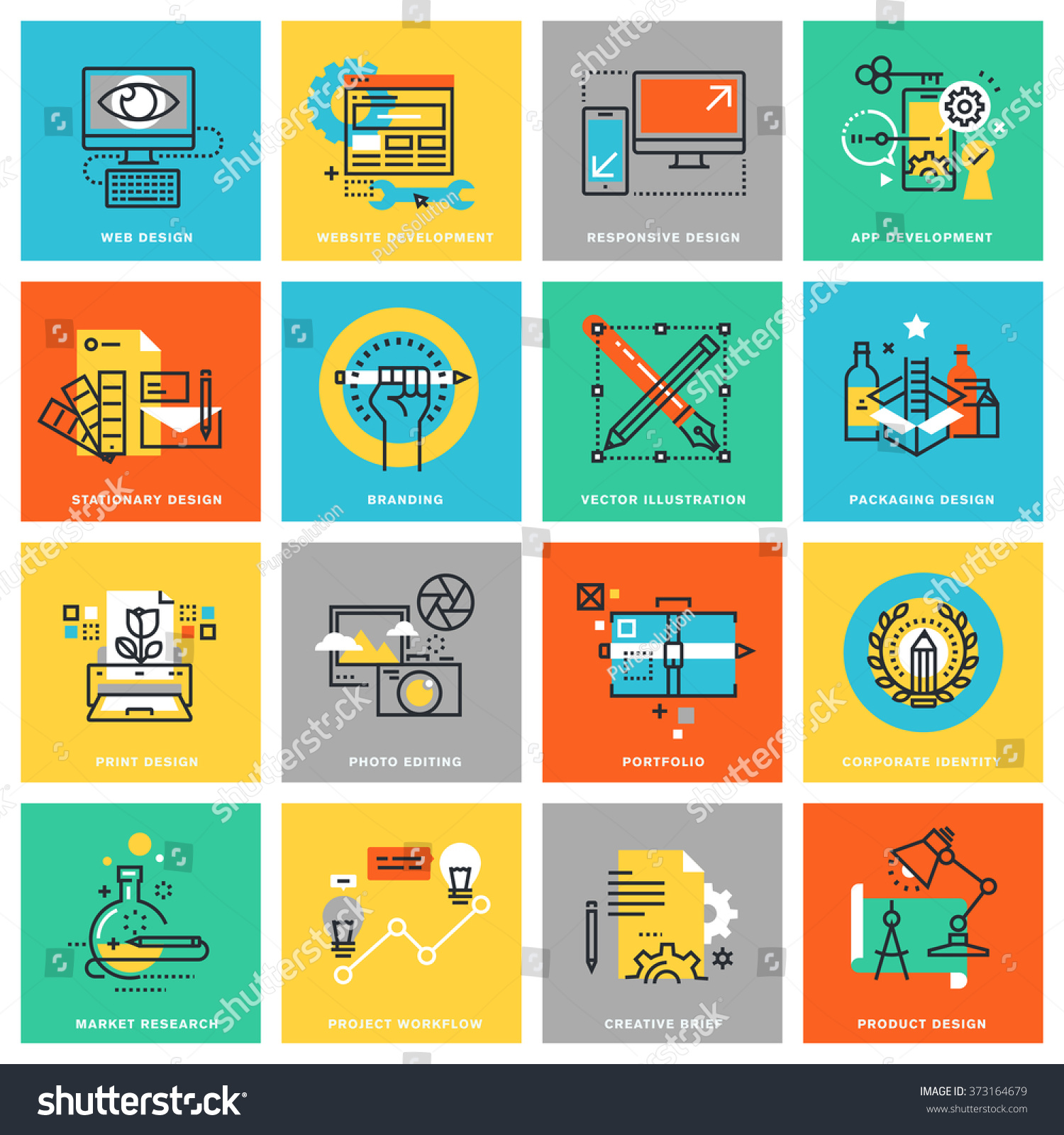 Corporate Graphic Design Modern Thin Line Flat Design Icons Stock Vector Royalty Free