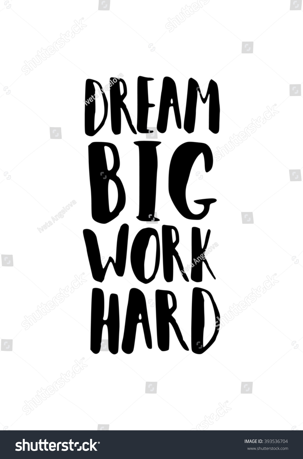 Large Black And White Posters Motivational Quote Poster Black White Dream Stock Vector