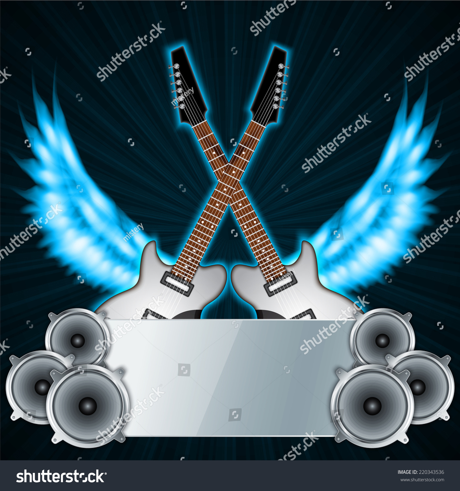 Rock Music Cover Music Background Fire Wings Rock Party Stock Vector Royalty Free