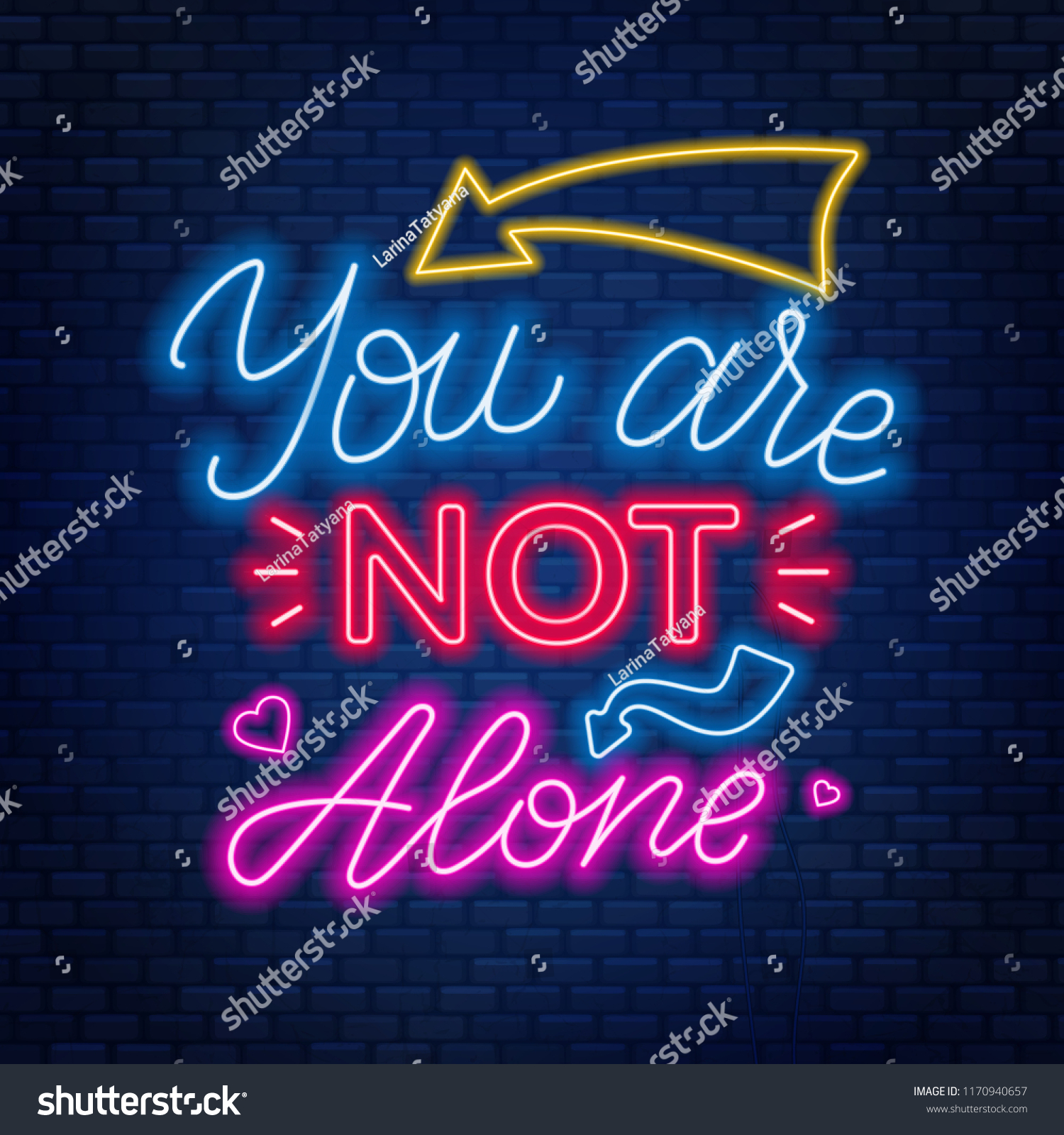 Neones Decorativos Neon Lettering Youre Not Alone Motivational Vector De Stock Libre