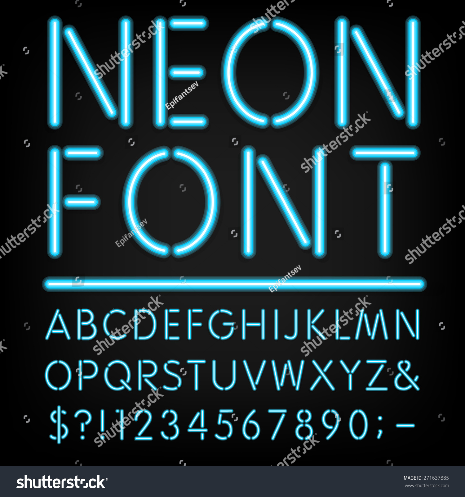 Neon Schriftzug Neon Light Alphabet Vector Font Type Letters Stock Vector