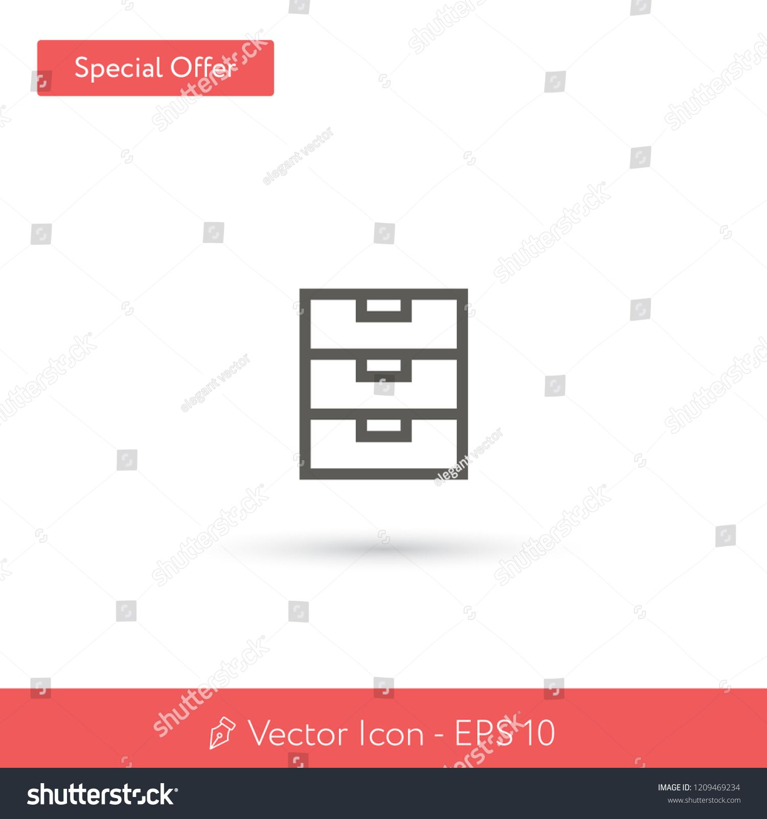Filing Cabinet Icon Flat New File Cabinet Vector Icon Modern Stock Vector Royalty Free