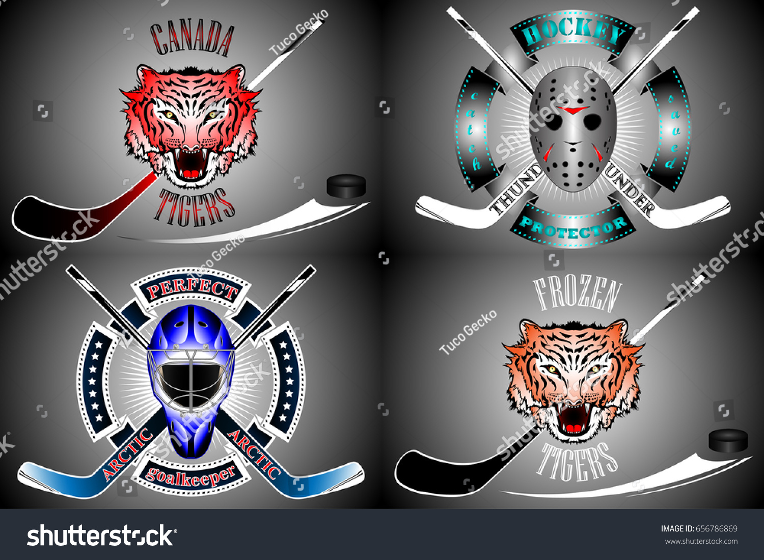 Hockey Logos New Hockey Logos Stock Vector Royalty Free 656786869 Shutterstock