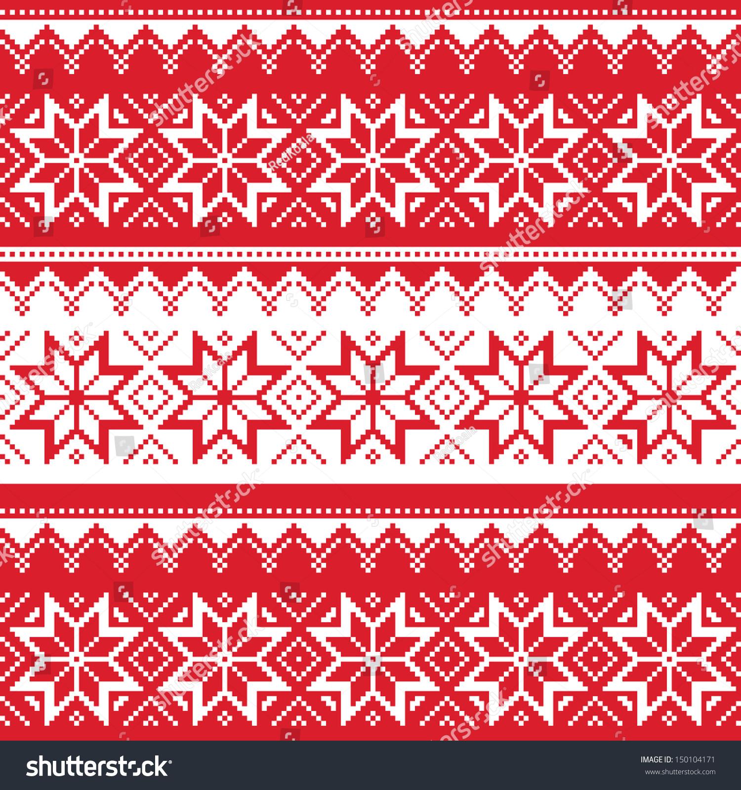 Cute Tribal Print Wallpaper Nordic Seamless Christmas Red Pattern Stock Vector