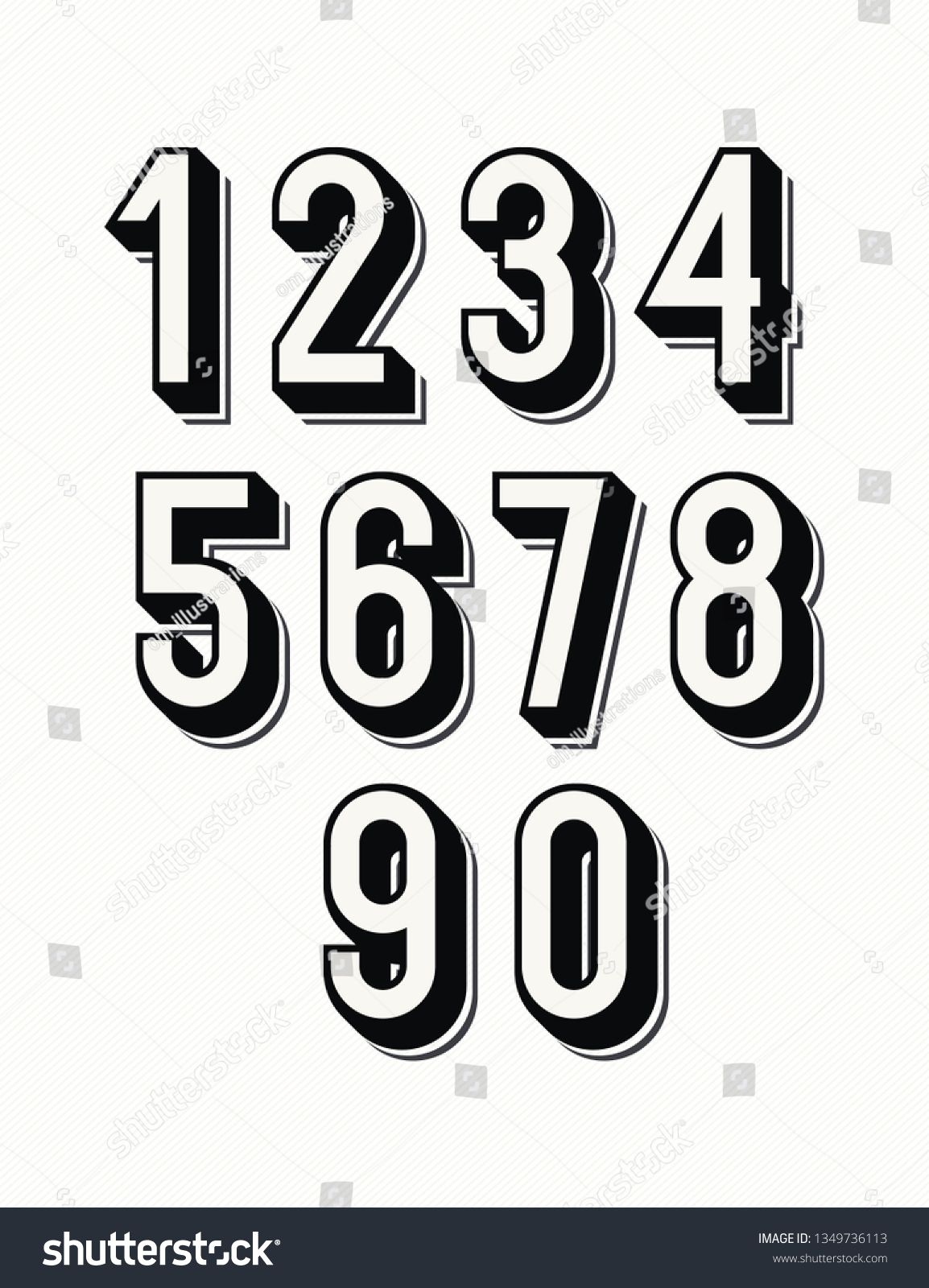1 6 7 8 Numbers Set 3 D Bold Style Trendy Stock Vector Royalty Free