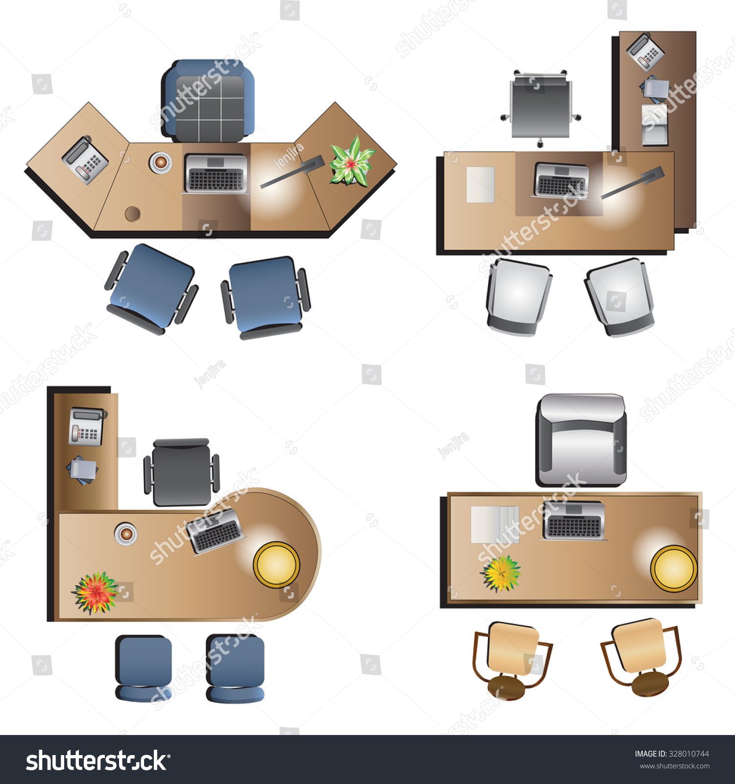 Office furniture top view for interior vector illustration