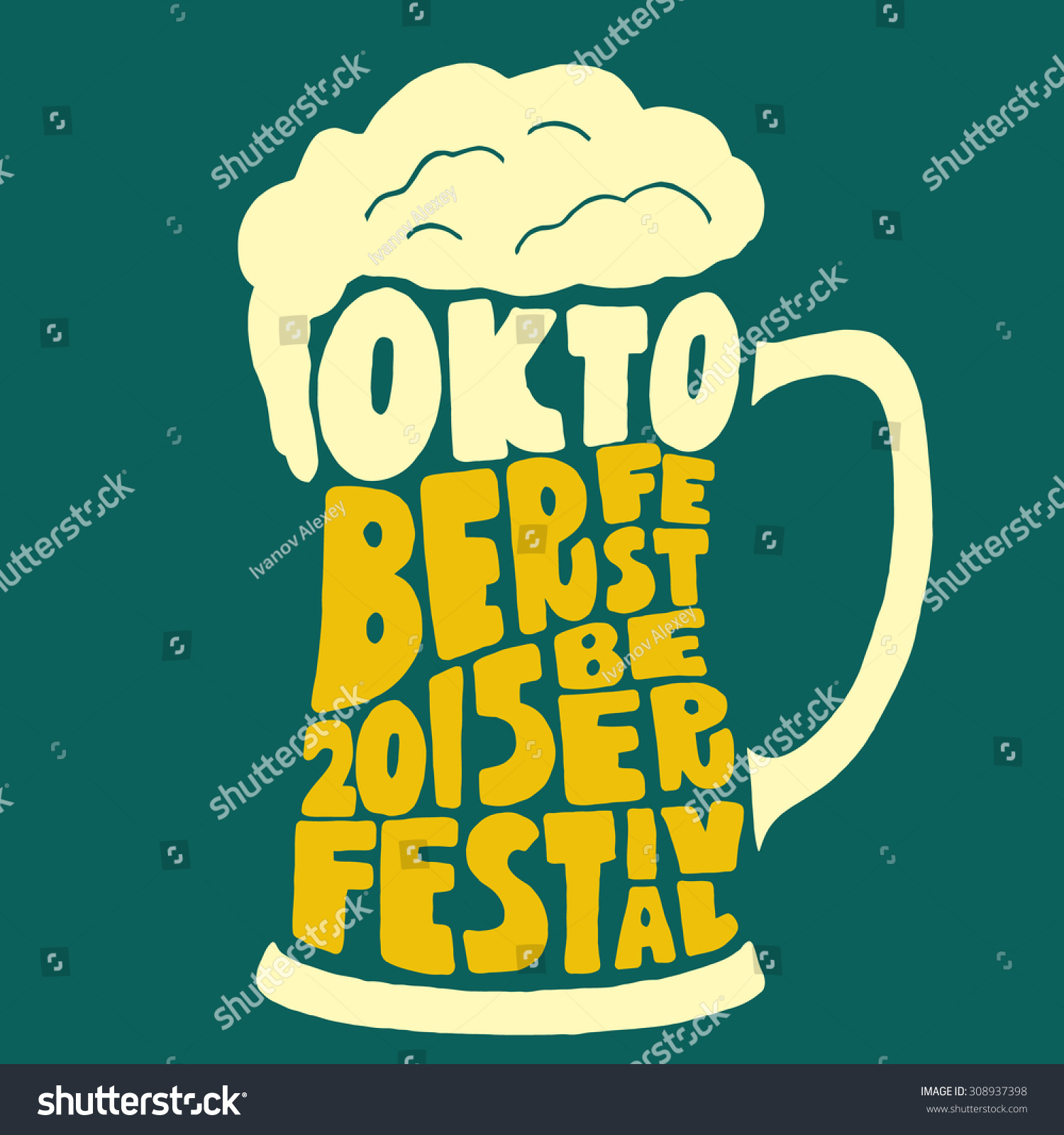 Oktoberfest 2015 beer festival handmade typographic art for poster print greeting card t shirt apparel