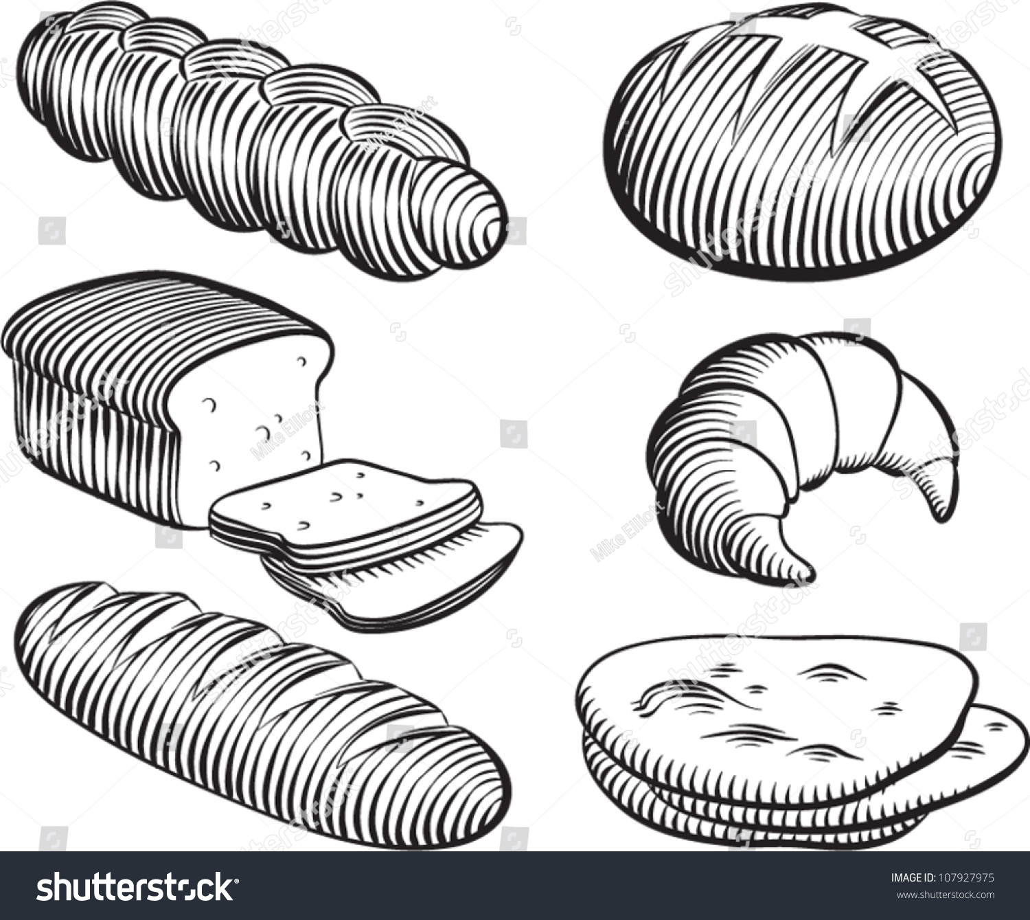 Loaf Clipart Black And White Old Fashioned Etched Style Illustration Various Stock