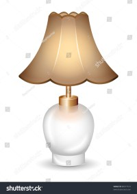 Old-Time Table Lamp On The White Background. Vector ...