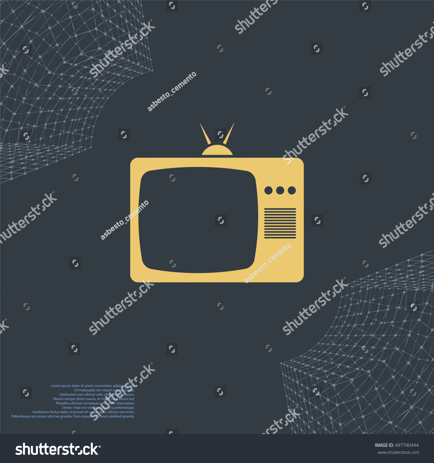 Ra T Vel Old Tv Icon Flat Design Style Stock Vector Royalty Free