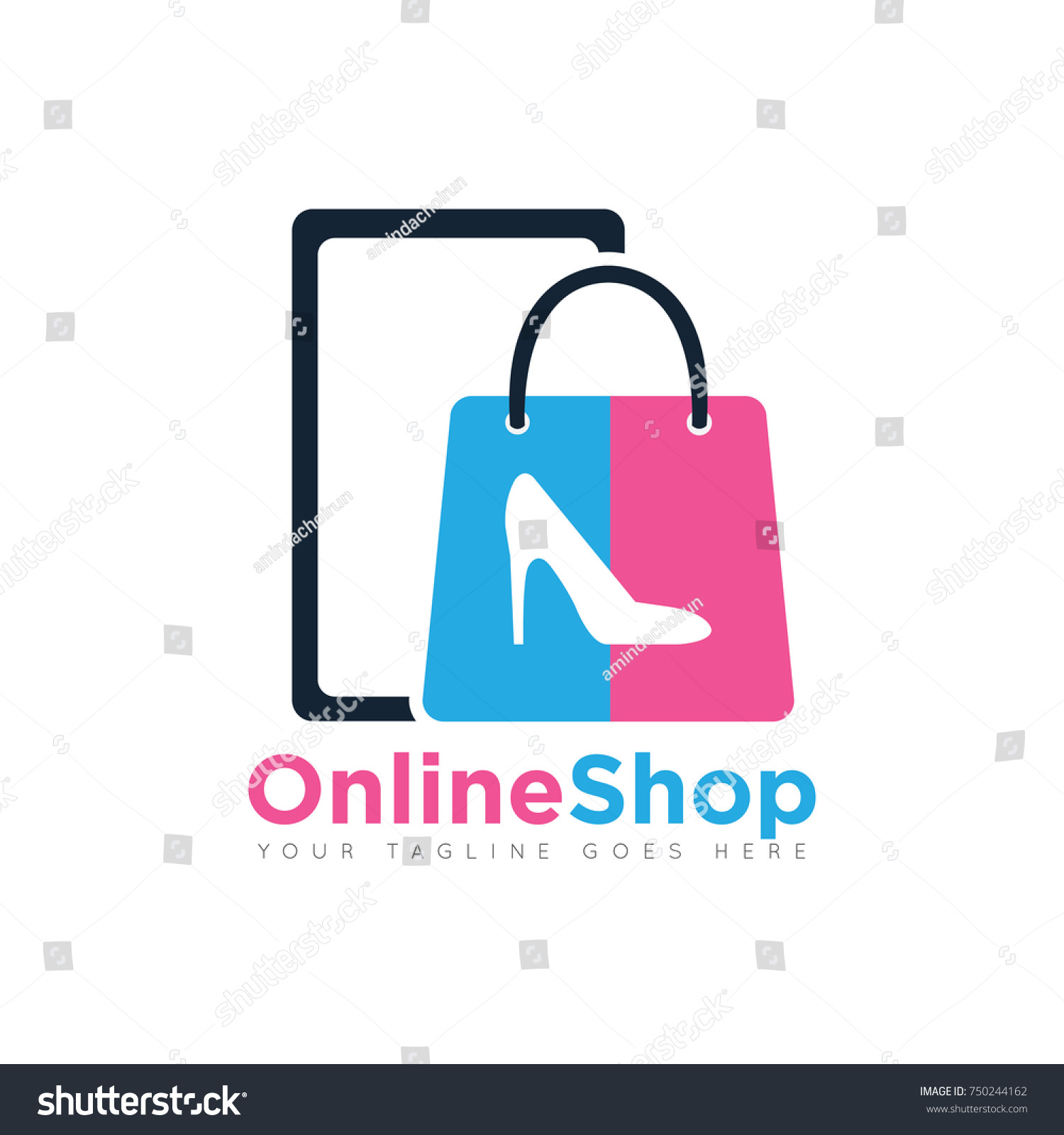 Design Online Shop Online Shopping Bag Logo Design Template Stock Vector Royalty