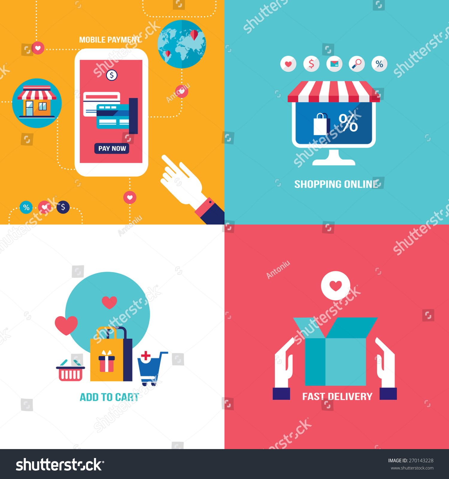 Online Shopping Mode Of Payment Online Shopping Ecommerce Mobile Payment Successful Stock