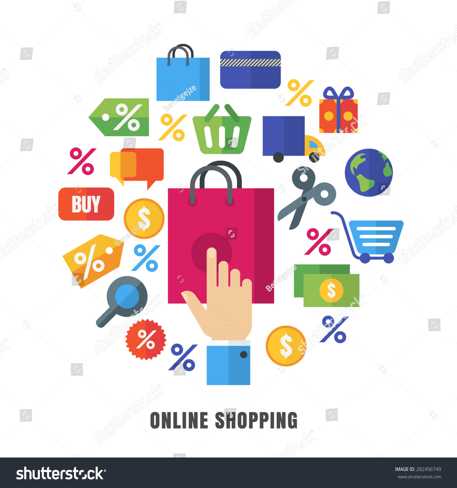 Design Outlet Online Online Shopping Vector Background Flat Ecommerce Stock