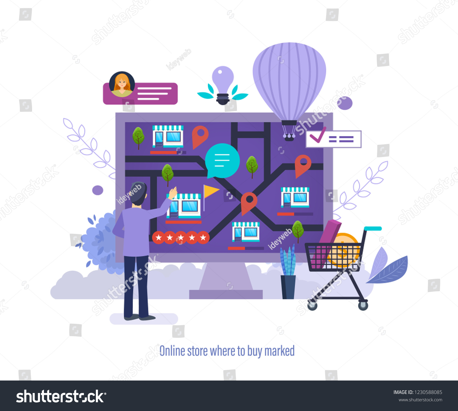 In Shop Online Store Online Store Where Buy Marked Shops Stock Vector Royalty Free