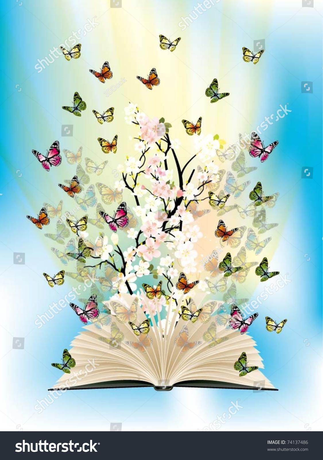 Falling Stars Grunge Wallpaper Open Book Butterflies Flying Stock Vector 74137486