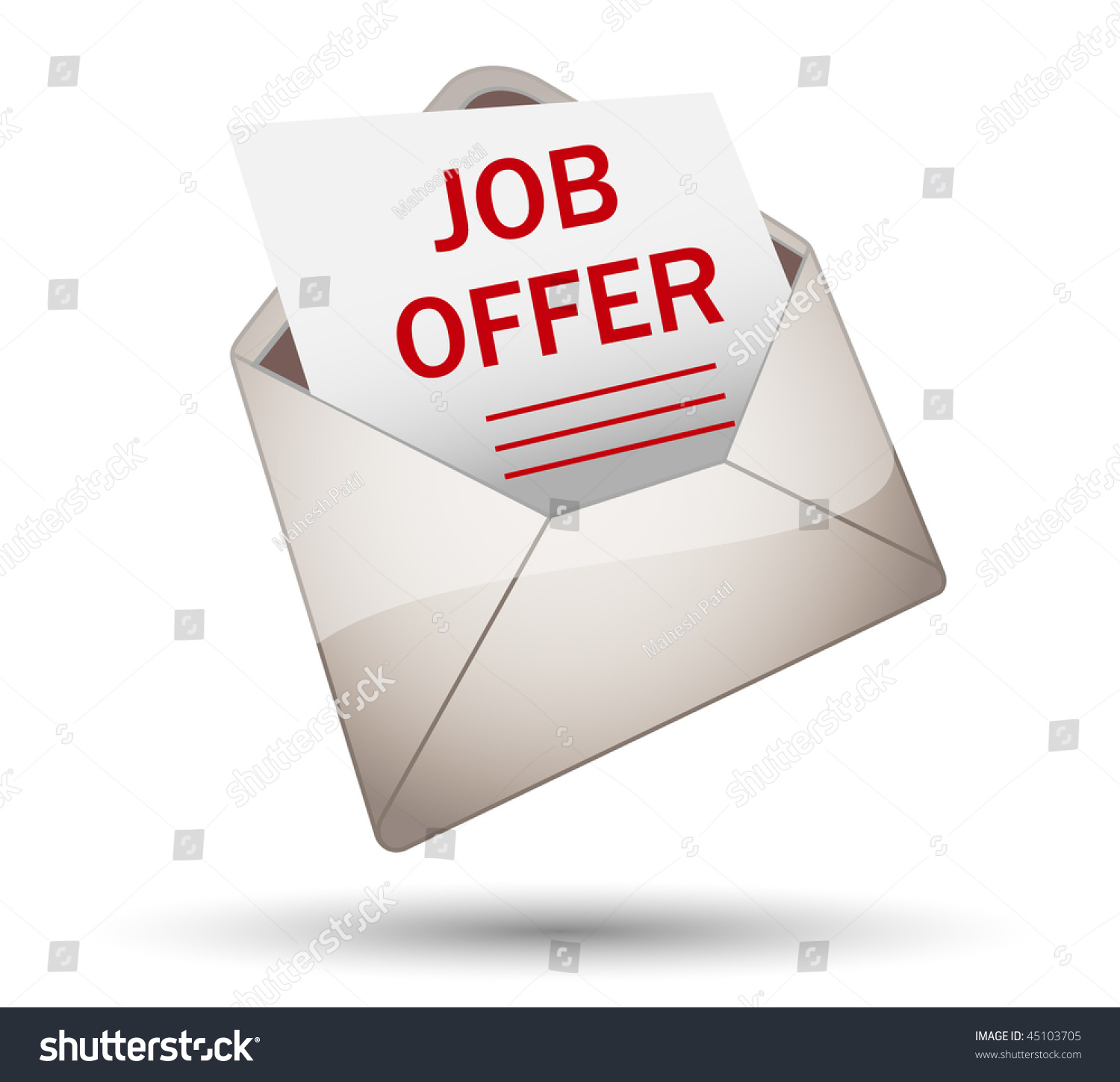 Offer Of Letter Of Recommendation Template Biztree Open Envelope With Job Offer Stock Vector Illustration