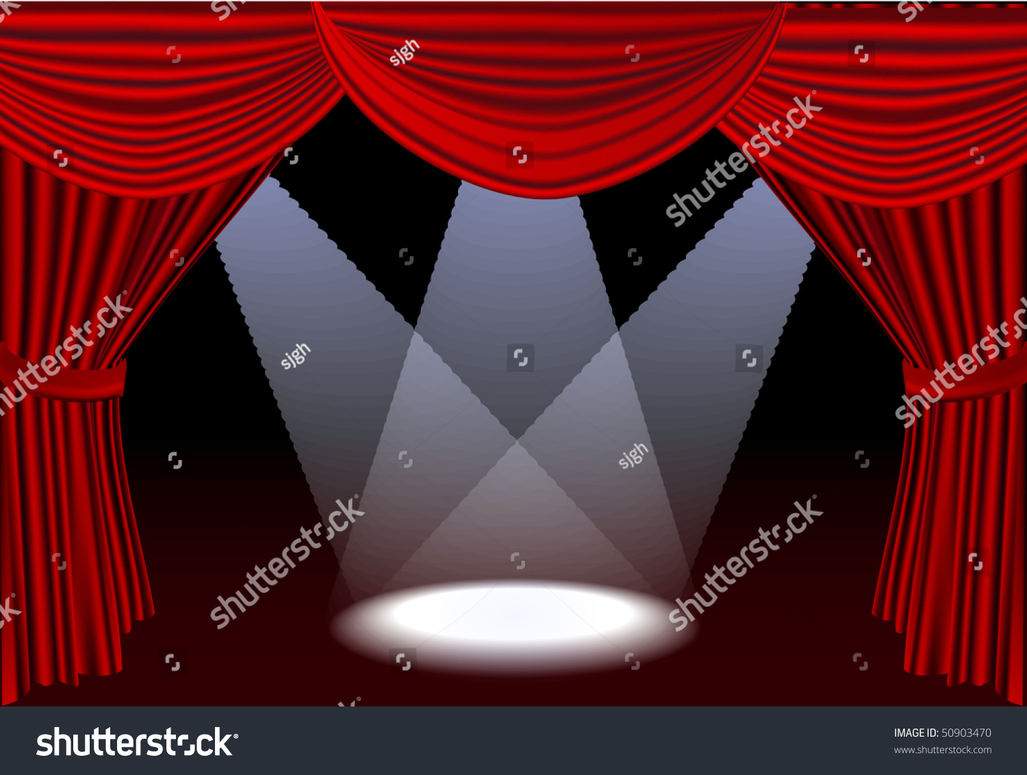 Red stage curtains - Open Red Stage Curtains With Three Spotlights