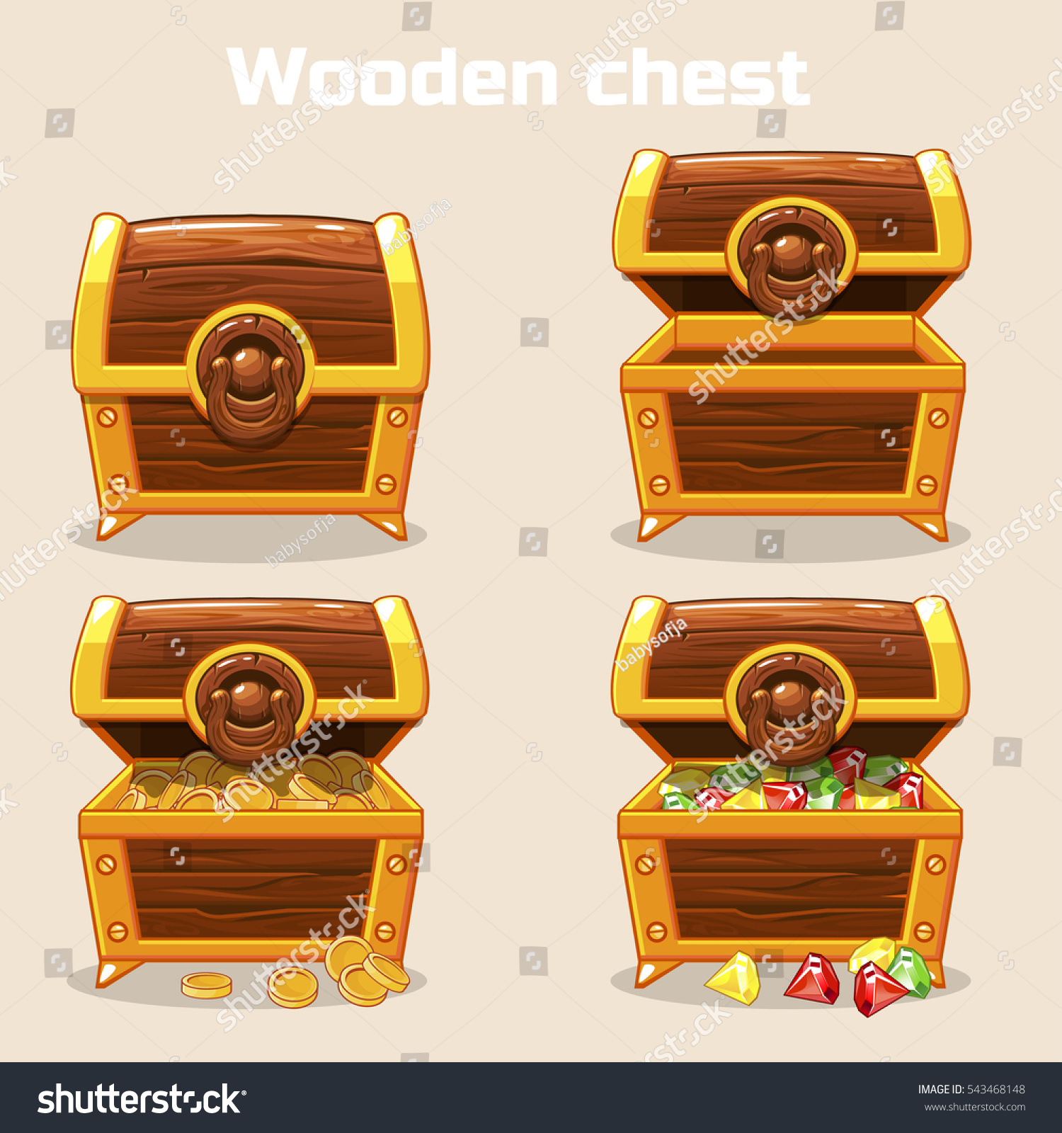 Chest Game Set Opened Closed Antique Treasure Chest Coins Stock Vector