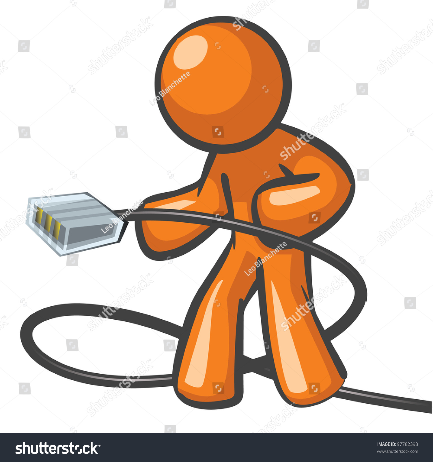 Orange Connexion Internet Orange Man Plugging Network Cable Ready Stock Vector Royalty Free
