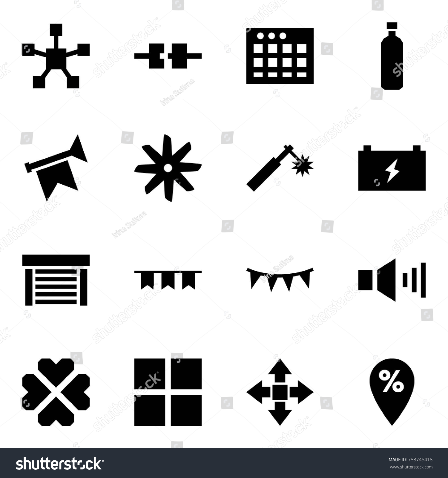 Garage Water Fan Origami Style Icon Set Network Star Stock Vector Royalty Free
