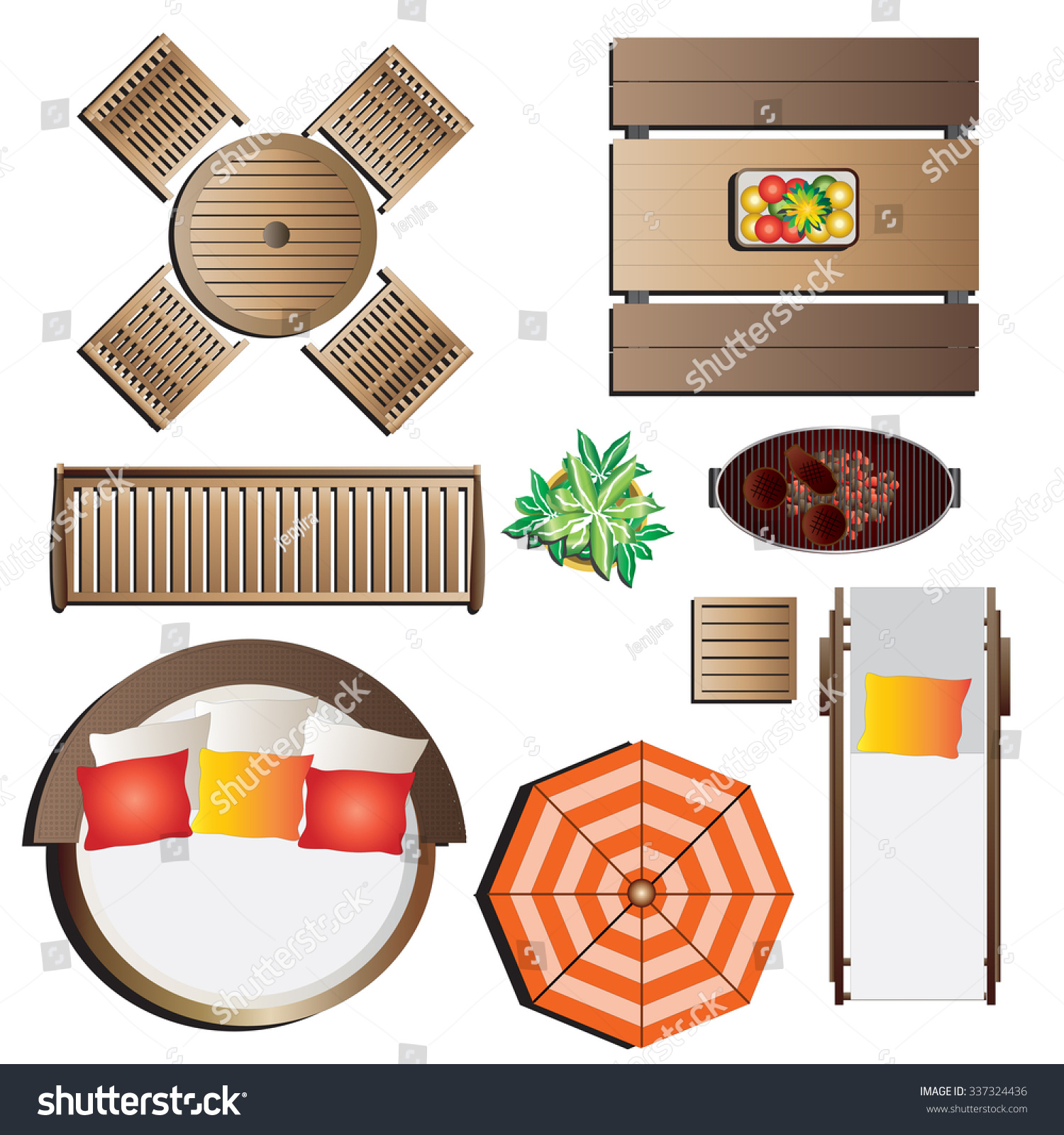 garden furniture top view psd 0 stock vector outdoor furniture top view set for