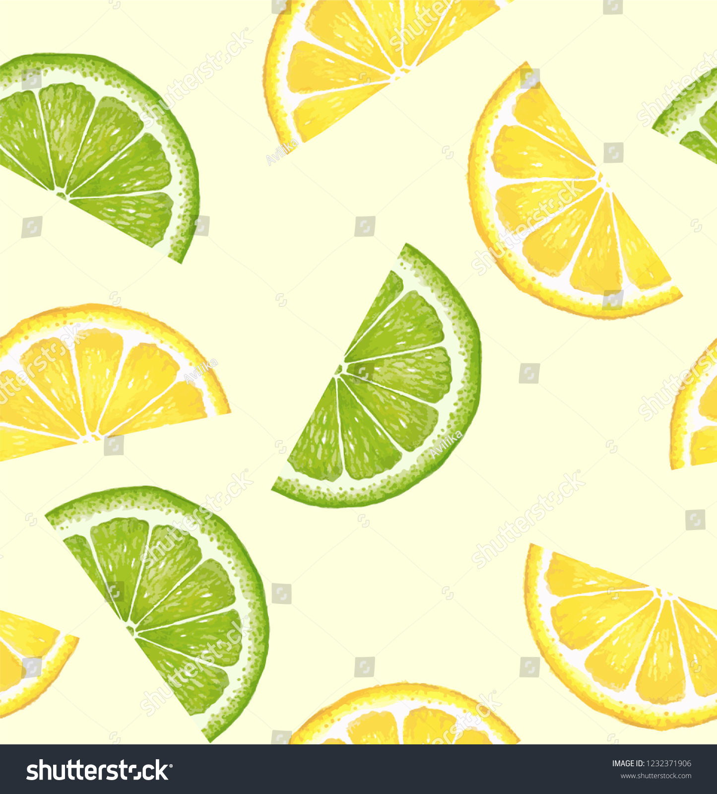 Lemon Green Curtains Pattern Citrus Watercolor Lemon Lime Slices Stock Vector Royalty