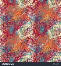 Peacock Feathers Colorful Seamless Pattern Repeating Stock ...