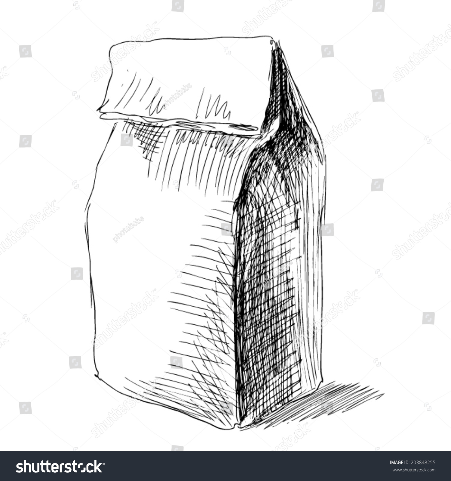 Pencil sketch of lunch paper bag