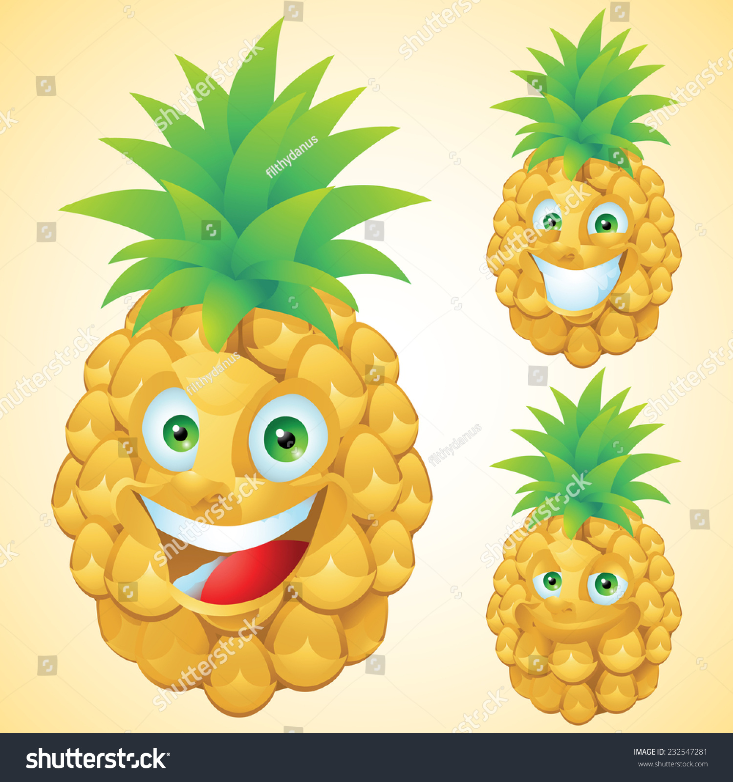 Ananas Bilder Pineapple Face Expression Cartoon Character Set Stock Vector