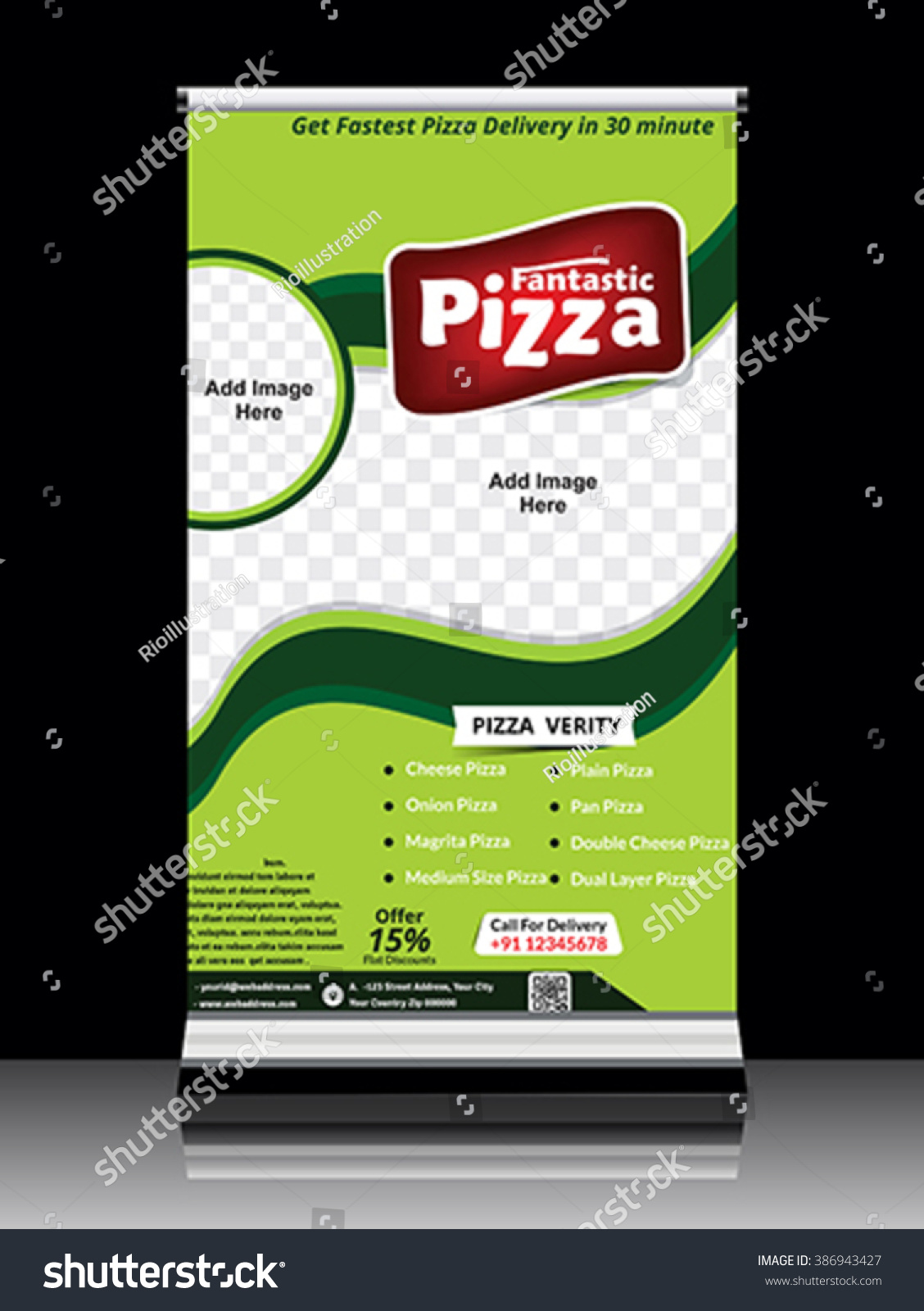 Store Banne Z Wave Pizza Store Standing Roll Banner Vector Stock Vector Royalty Free