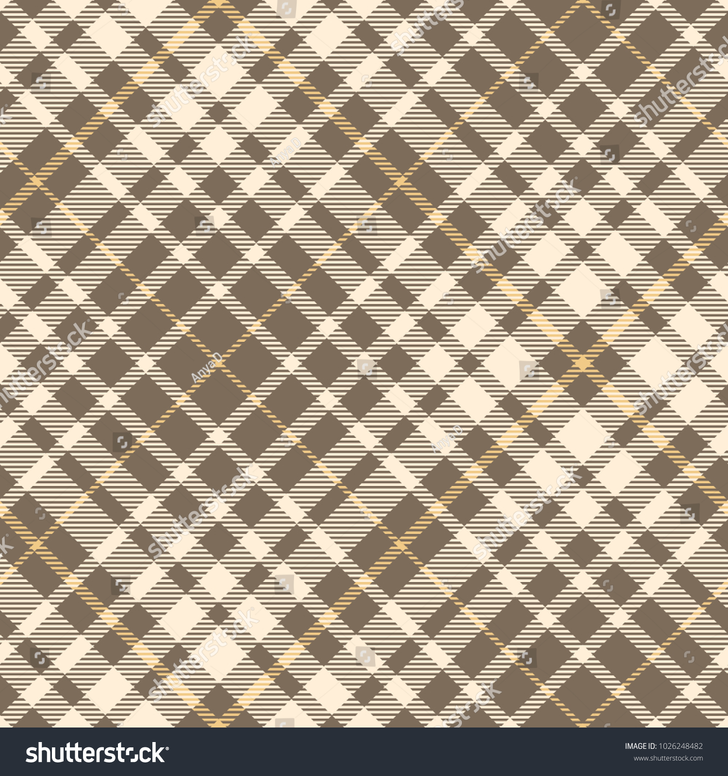 Brown Seamless Fabric Textures Plaid Check Pattern Shades Beige Brown Stock Vector Royalty Free