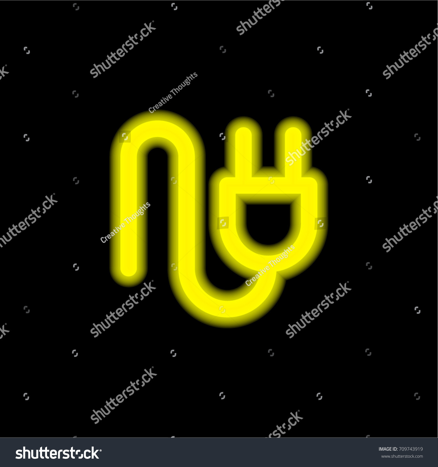 Ux Plug Plug Yellow Glowing Neon Ui Ux Stock Vector Royalty Free